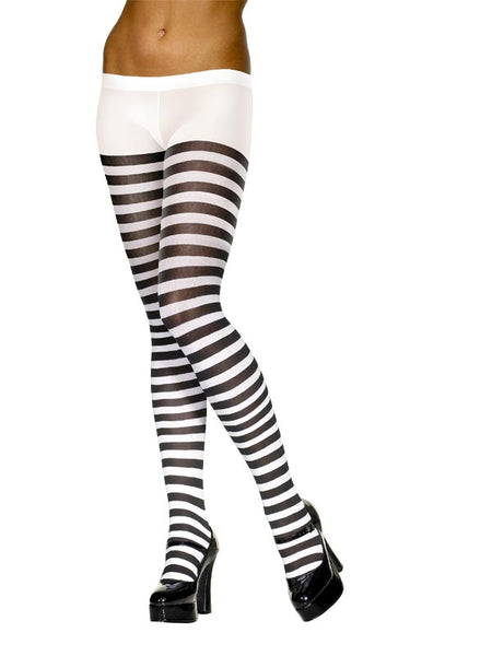 White & Black Striped Tights