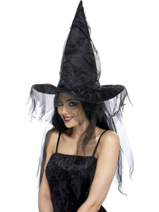 Black witch Hat with Long Net