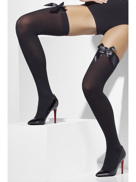 Black Thigh High Stockings with Black Bows