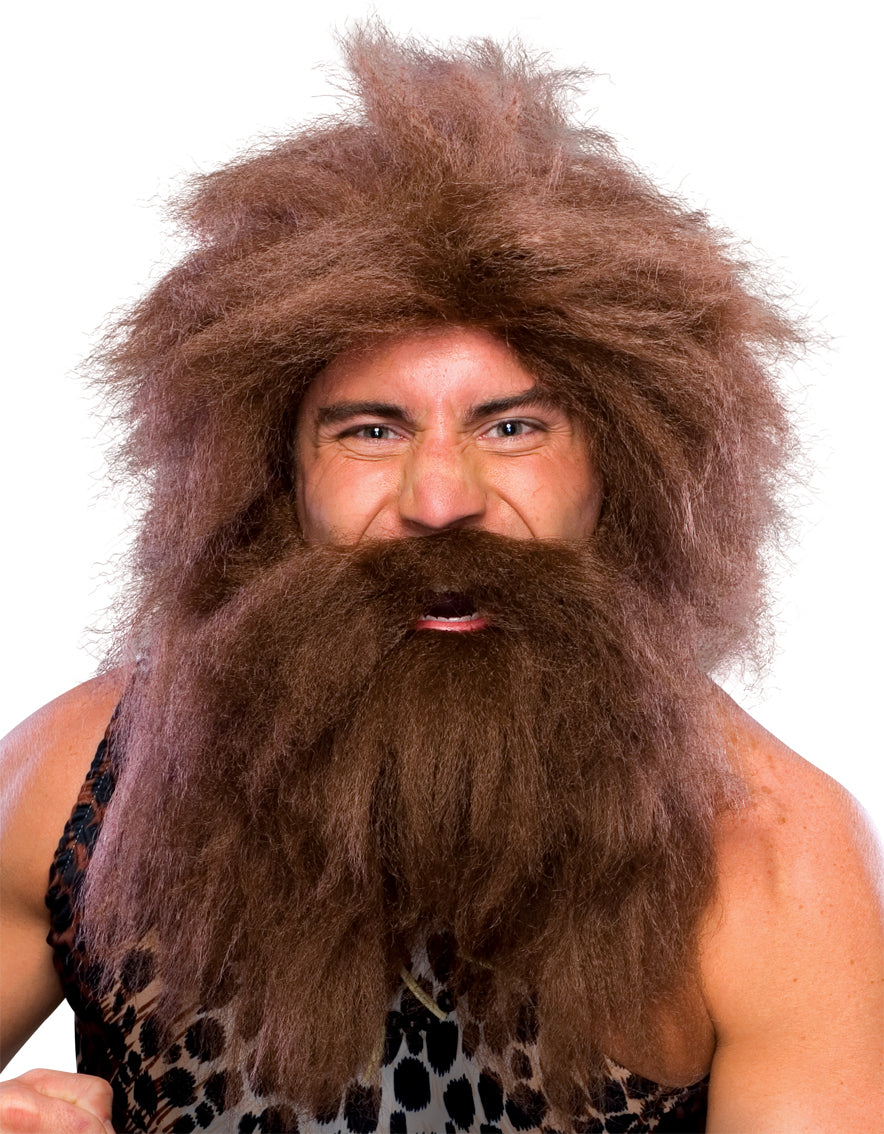 Pre-Historic Wig & Beard Set Brown