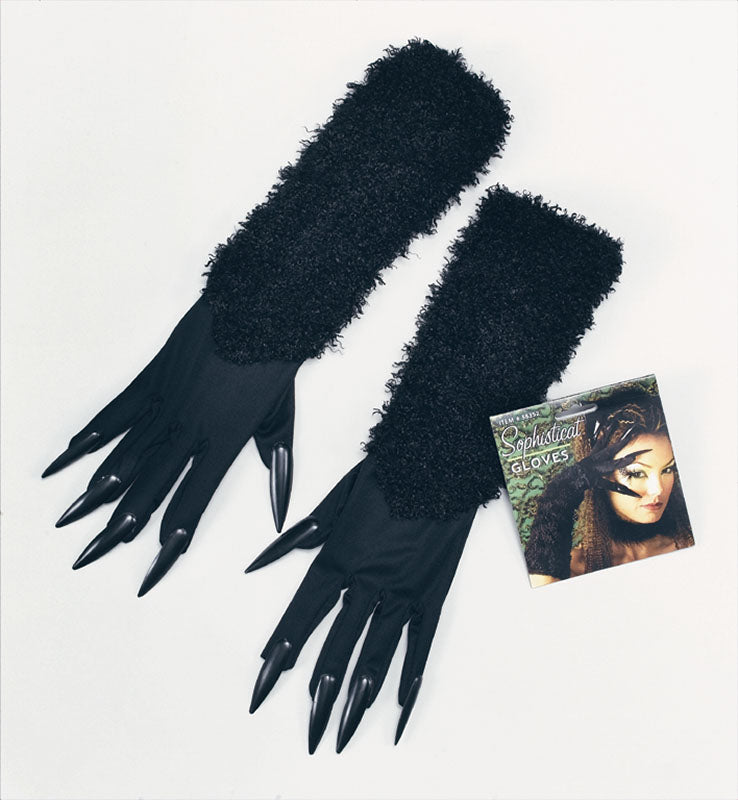 Furry Cat Gloves with Claws