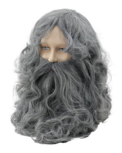 Wavy Grey Wizard Beard & Wig