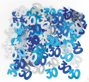 Birthday Glitz 30 Blue Confetti