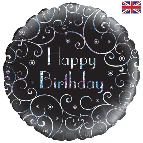 "18"" Happy Birthday Black Swirls Foil Balloon"