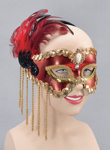 Red Satin Mask & Feathers