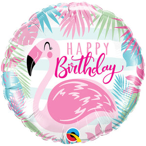 "18"" Birthday Pink Flamingo Foil Balloon"