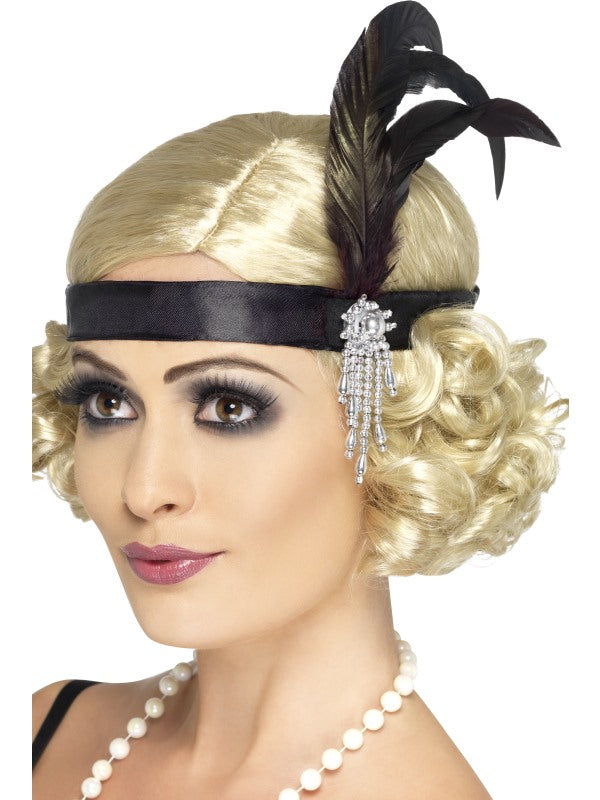 Black Deluxe Headband with Black Feathers