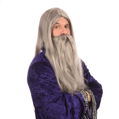 Grey Wizard Long Wig & Beard