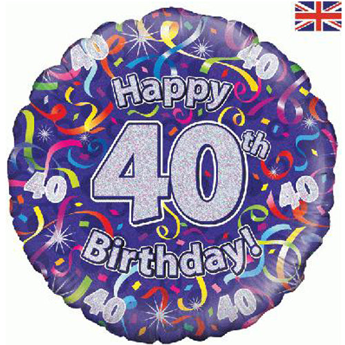 "18"" Streamers 40th Birthday Foil Balloon"
