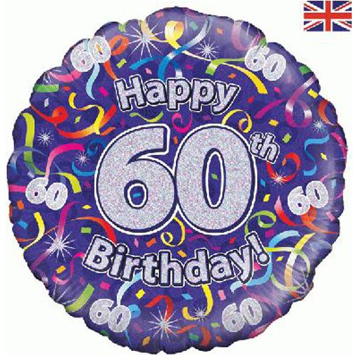 "18"" Streamers 60th Birthday Foil Balloon"