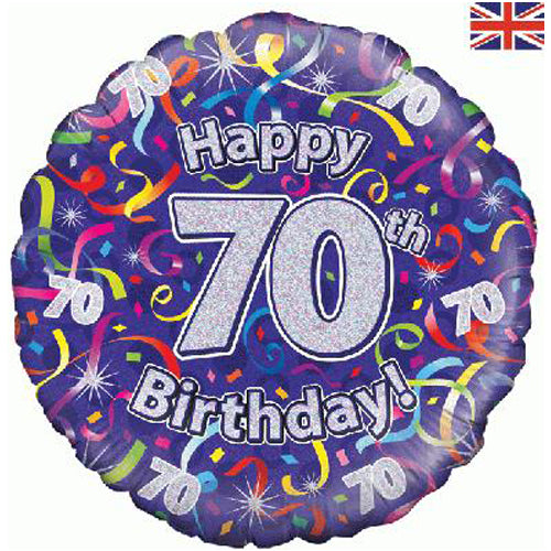 "18"" Streamers 70th Birthday Foil Balloon"