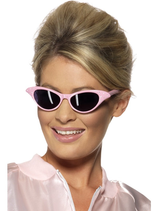 Pink Diamante 50s Sunglasses