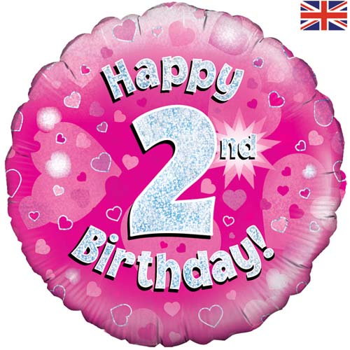 "18"" Pink Happy 2nd Birthday Foil Balloon"