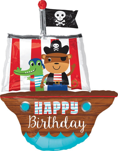 Pirate Ship Happy Birthday Balloon