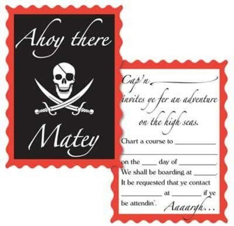 Pirate Party Invitations (8pk)