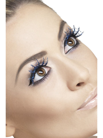Blue Glitter Spiderweb Eyelashes