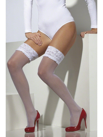 Lace Top White Stockings
