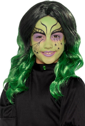 Child's Black & Green Witch Wig