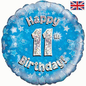 "18"" Blue Happy 11th Birthday Foil Balloon"