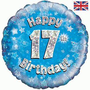 "18"" Blue Happy 17th Birthday Foil Balloon"