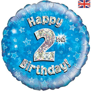 "18"" Blue Happy 2nd Birthday Foil Balloon"