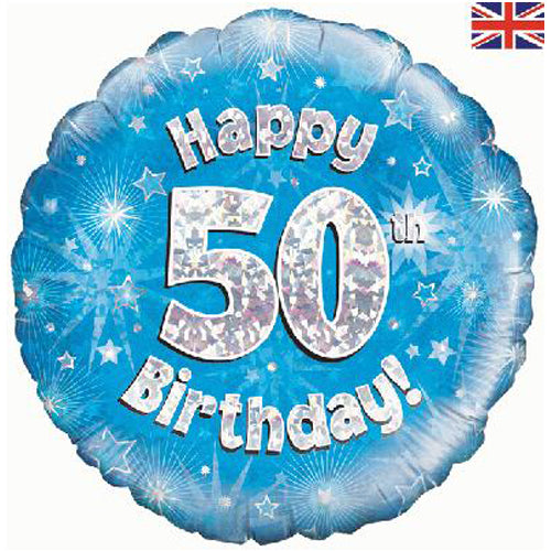 "18"" Blue Happy 50th Birthday Foil Balloon"
