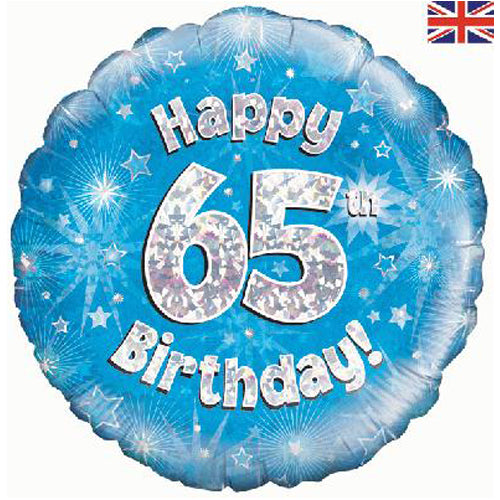 "18"" Blue Happy 65th Birthday Foil Balloon"