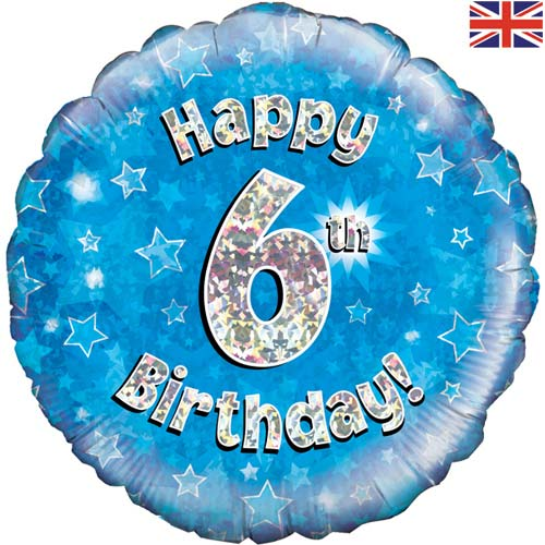 "18"" Blue Happy 6th Birthday Foil Balloon"