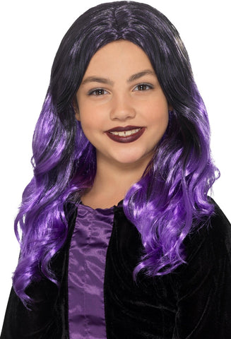 Child's Black & Purple Witch Wig