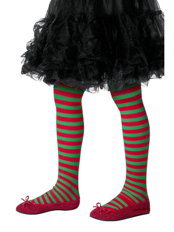Children's Green & Red Striped Tights