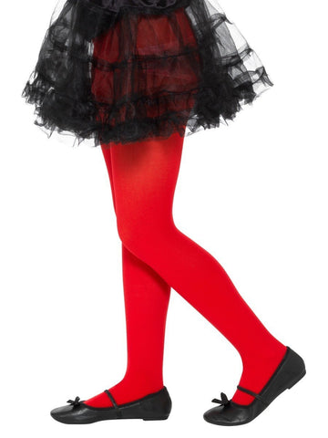 Kid's Red Opaque Tights (6-12 Years)