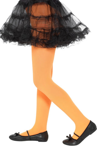 Kid's Orange Opaque Tights (6-12 Years)
