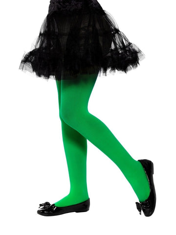 Kid's Green Opaque Tights (6-12 Years)