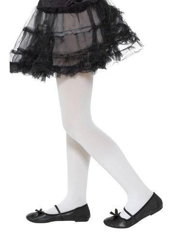 Kid's White Opaque Tights (6-12 Years)