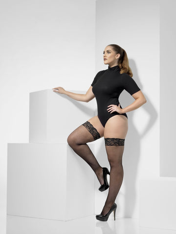 Plus Size Lace Top Black Fishnet Hold-Ups