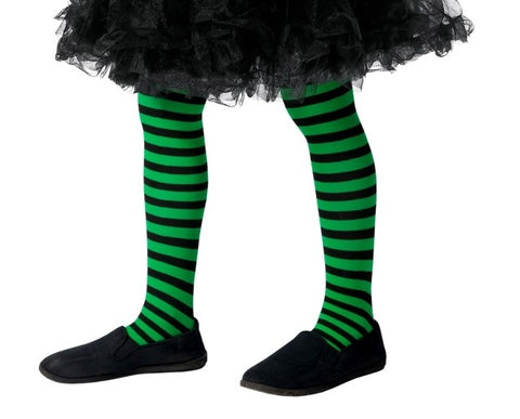 Kid's Green & Black Striped Tights (7-12 Years)