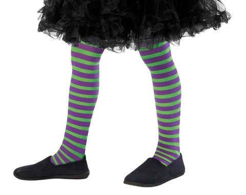 Kid's Green & Purple Striped Tights (6-12 Years)