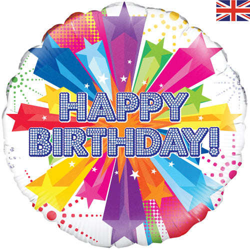 "18"" Bright Stars Happy Birthday Foil Balloon"
