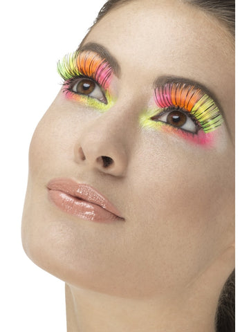 Neon Multicoloured 80s Party Eyelashes