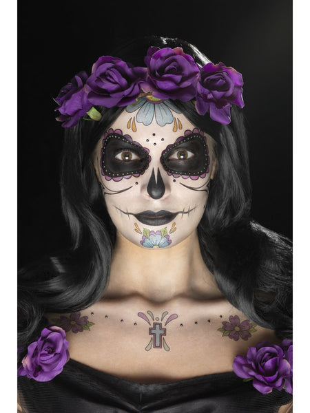 Multicoloured Day of the Dead Face Tattoo Transfers Kit