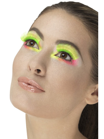 Neon Green 80s Party Eyelashes
