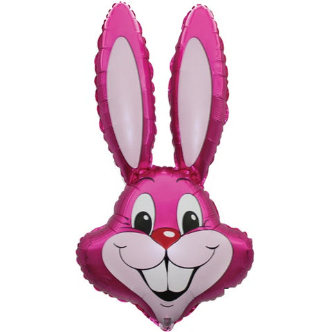 35 Inch Pink Rabbit Head Supershape Foil Balloon