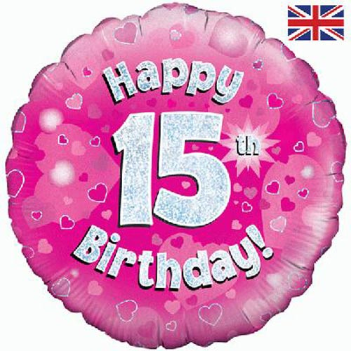 "18"" Pink Happy 15th Birthday Foil Balloon"
