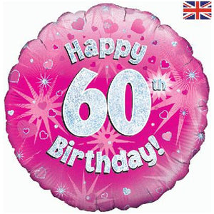 "18"" Pink Happy 60th Birthday Foil Balloon"