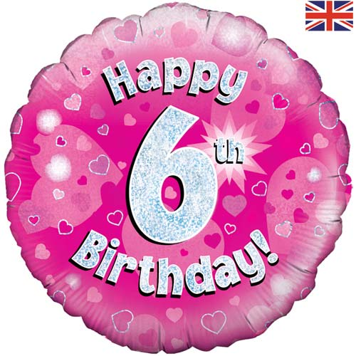 "18"" Pink Happy 6th Birthday Foil Balloon"