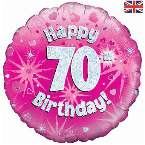 "18"" Pink Happy 70th Birthday Foil Balloon"