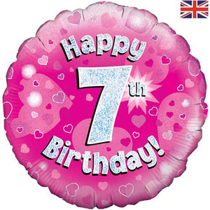 "18"" Pink Happy 7th Birthday Foil Balloon"