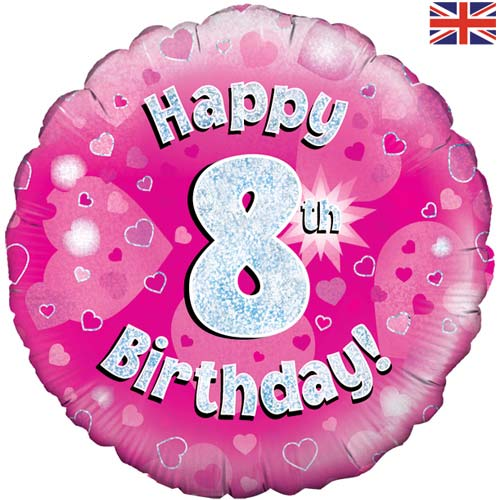 "18"" Pink Happy 8th Birthday Foil Balloon"