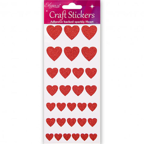 Red Glitter Heart-Shaped Craft Stickers