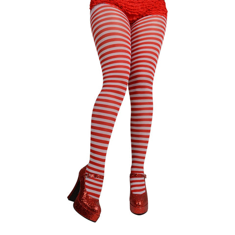White & Red Striped Tights